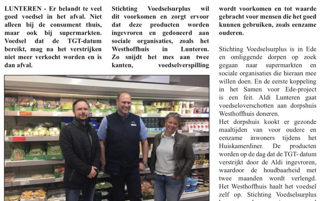 Westhoffhuis ontvangt overschotten van Aldi in Lunteren